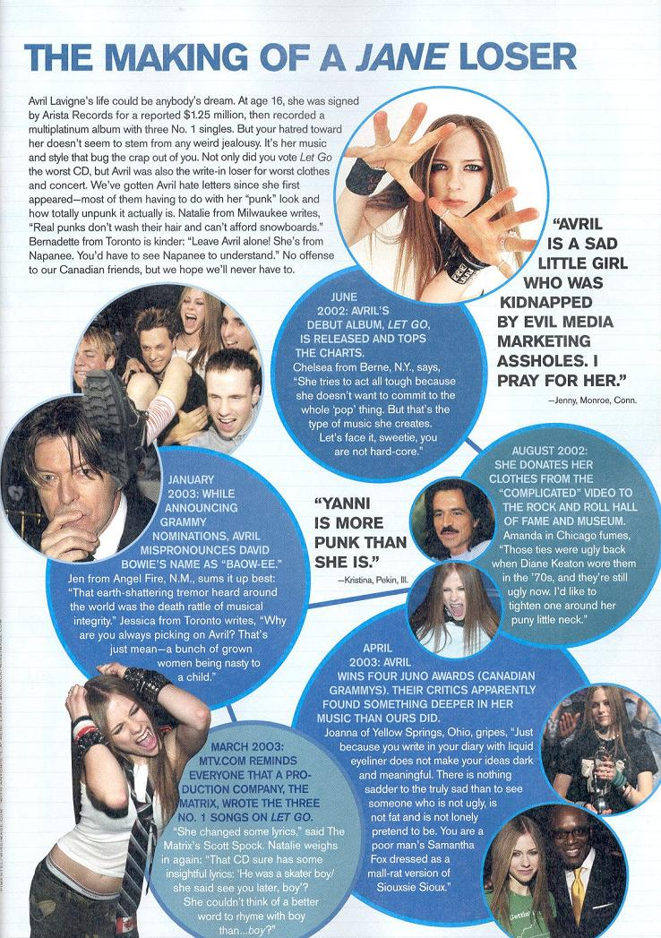 The Anti-Avril page scan from JANE